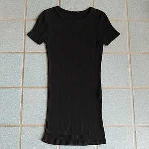 Brandy Melville Black Ribbed T-Shirt Dress